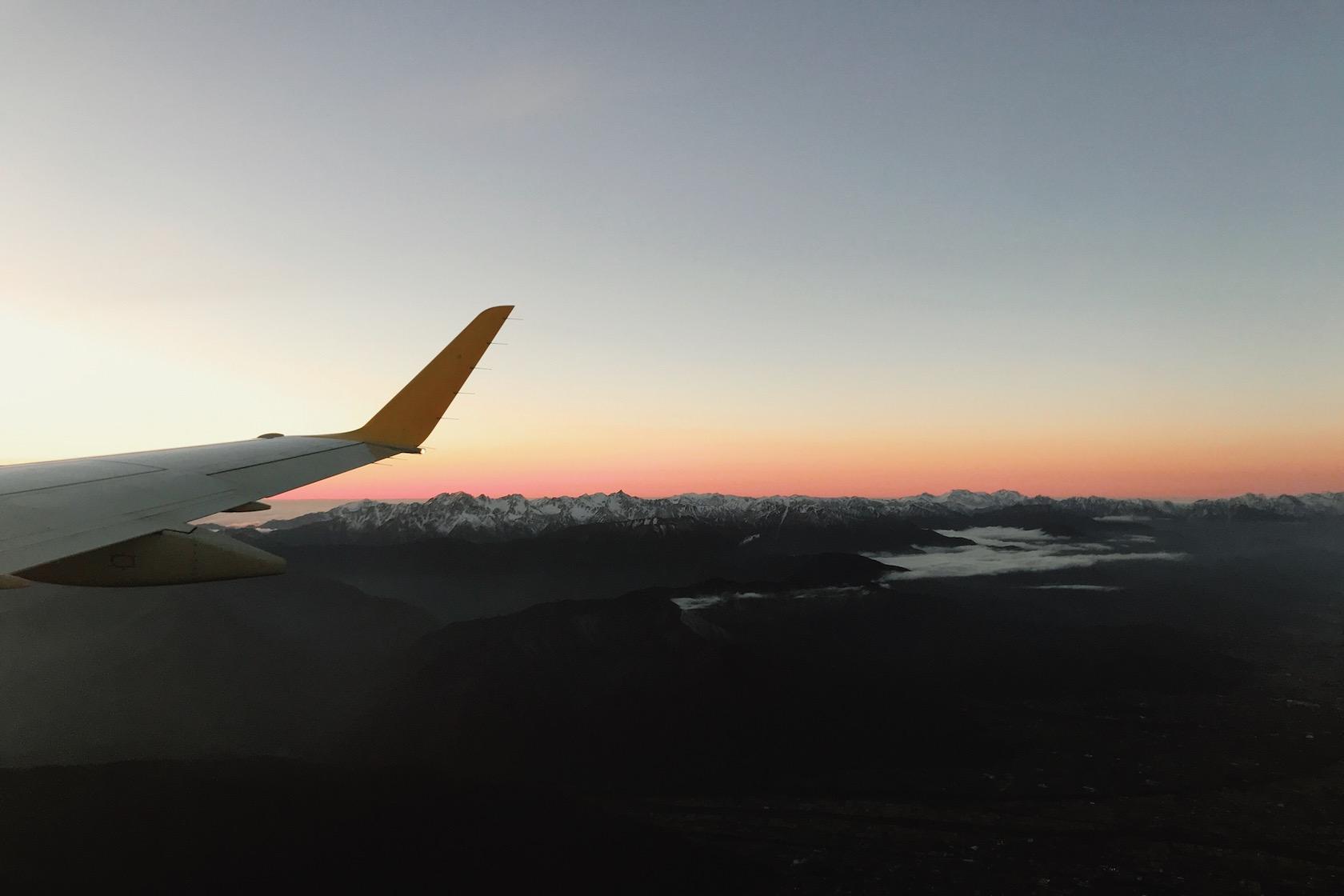 飛行機から見る槍ヶ岳・穂高連峰