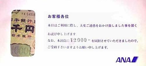 ANAがくれた2,000円