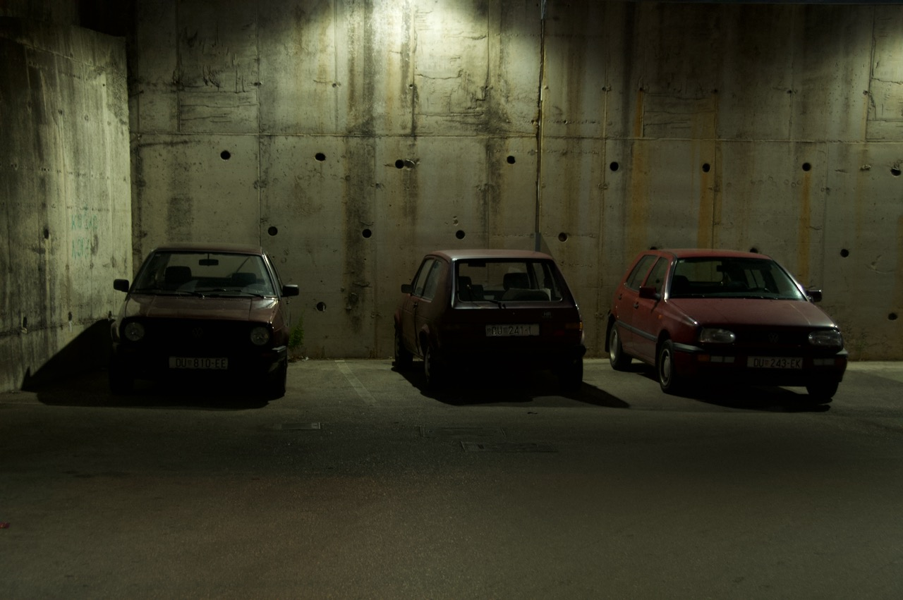 VW Golf 2, Golf 1, Golf 3 (Left to right)