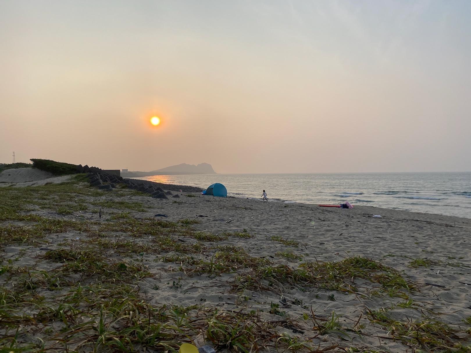 幣の浜の夕暮れ
