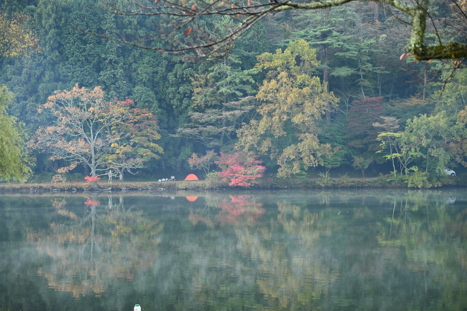 対岸の紅葉とテント