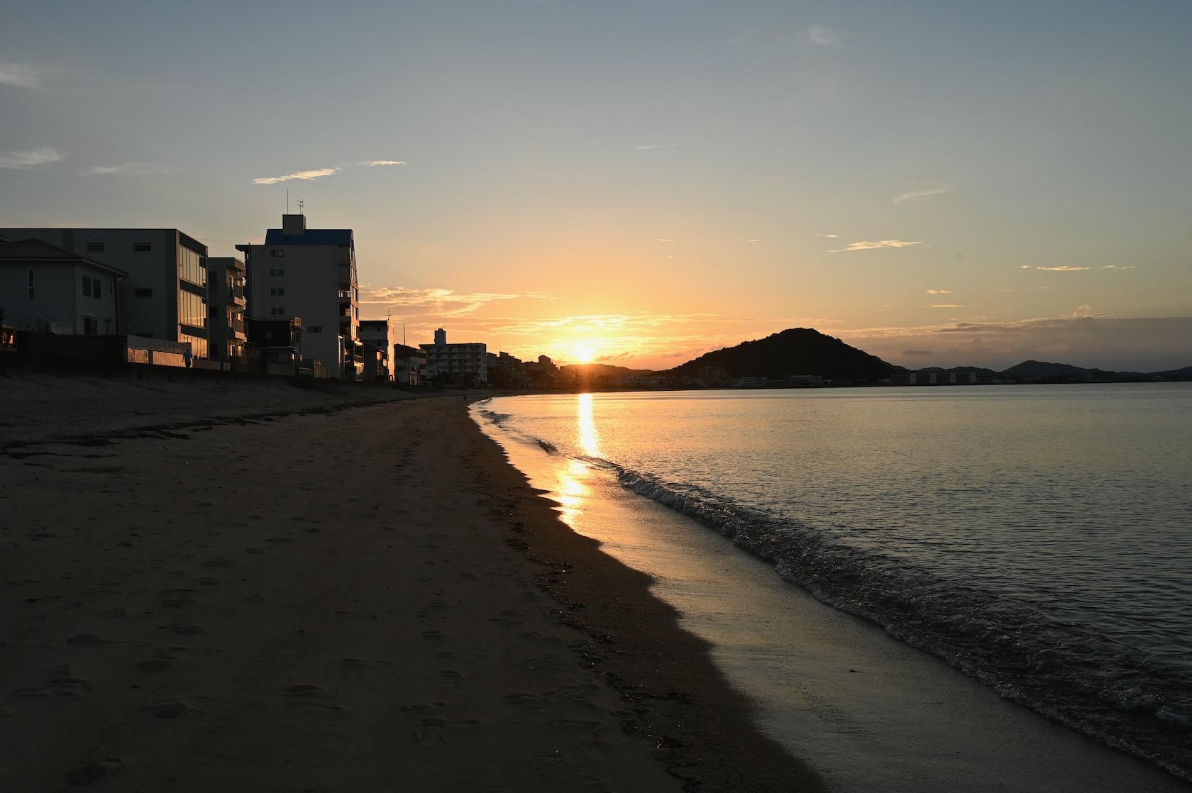 長垂海岸の夕暮れ